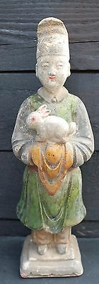 Chinese Ming Dynasty  Zodiac Figure Holding A Rabbit
