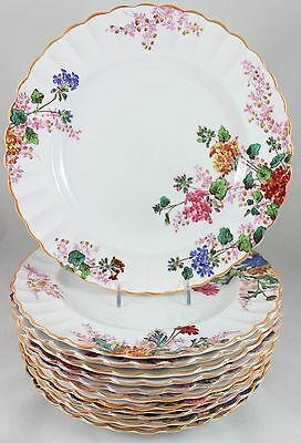 Full Set 12 Dinner Plates Spode Bone China Chelsea Garden R9781 Pink Blue Floral