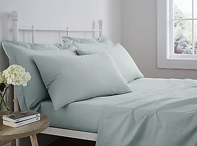 Catherine Lansfield 100% Pure Cotton Super Soft Duck Egg Fitted Sheet All Sizes
