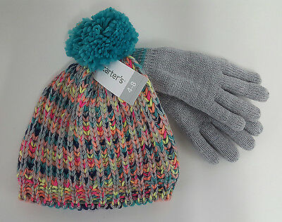Kids  Carter's  Winter Hat and Gloves  Gray/Multi-color  Ages 2t-4t
