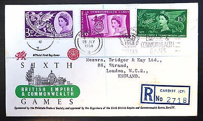 GB 1958 Games Souvenir Registered FDC with Cardiff Handstamp/Label RARE NB399