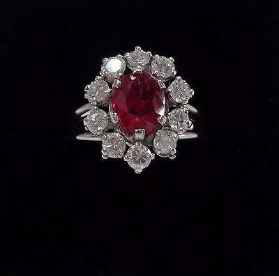 Ruby and diamond cluster .75ct ring in 18ct white gold