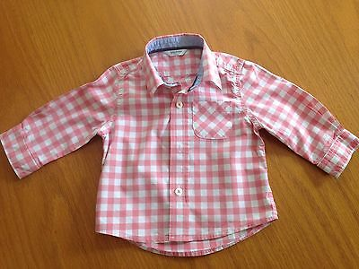 Boy's pink checked shirt, Boden, size 6 - 12 months