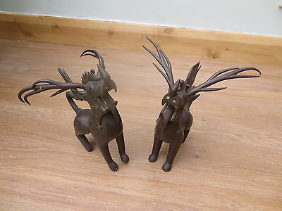 """Early  PAIR of BRONZE TIBETAN DRAGONS - 7"""" high -removable horns 4""""long -  GC"""