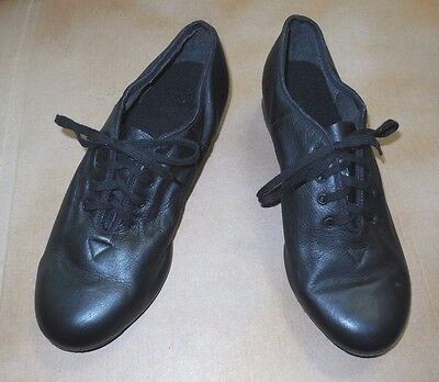 New Character Oxford Black Leather Uppers Suede Sole Ladies size 8 but fits 7.5