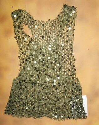 NWT Army Green Loose mesh raw edge Sequin top ch/ladies sizes Wolff Fording & Co