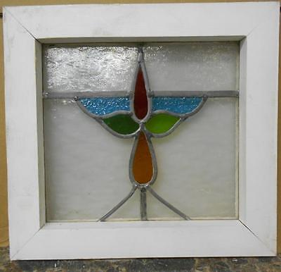 "OLD ENGLISH LEADED STAINED GLASS WINDOW Sweet Floral 15"" x 14"""