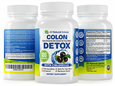 Colon Detox Cleanse - All Natural Pure Flush - 180 Capsules - Canadian