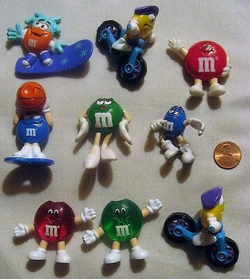 Nine M&M's Candy Characters Miniature 2 Inch Figures
