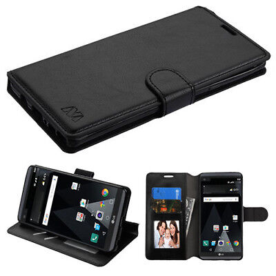 For LG V20 Leather Flip Wallet Case Cover Stand Protective Card Holder BLACK