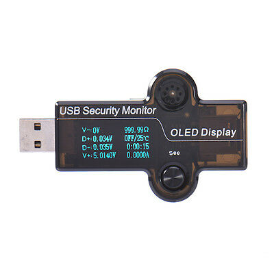 USB Security Monitor Current Voltage Capacity Energy Time Tester OLED Display