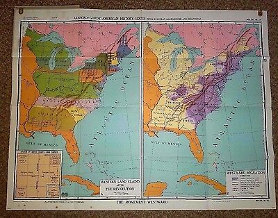 """Vintage NYSTROM & CO. School Maps- American History Series  49""""X 37.5""""  LOT of 8"""