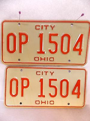 rare MATCHING PAIR set AUTHENTIC vintage OHIO CITY license plate EXCELLENT $9.95