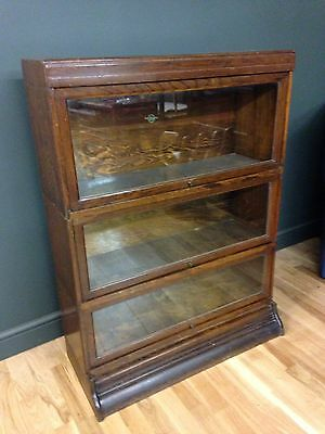 Antique Globe Wernicke Oak Three Tier Stacking Library Bookcase Cabinet