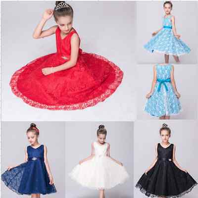 Age 3-16 Kids Girls Princess Lace Occasion Wedding Party Pageant Communion Dress