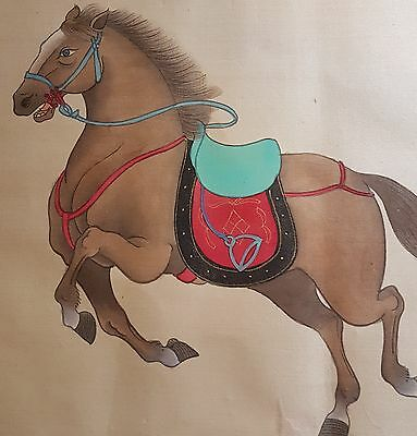 Adorable painting on silk- Horse - signed and stamp marks chinese japanese ?