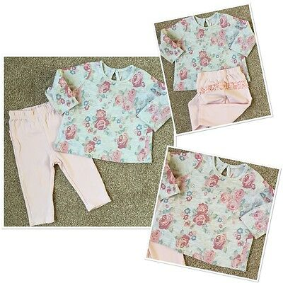 Baby girls Sweet Floral Top & Leggings Outfit 6-9 Months