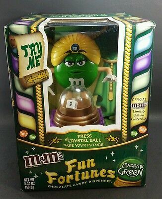 M&M's CANDIES FUN FORTUNES FORTUNE TELLER MADAME GREEN candy dispenser collector