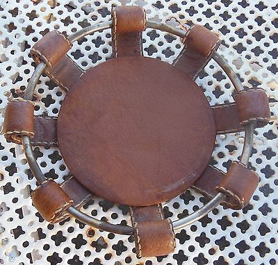 VINTAGE - OLD COASTERS bottle of JACQUES ADNET -leather STING SELLIER