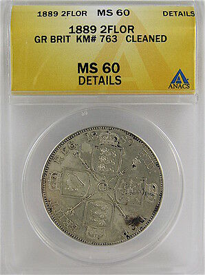 Great Britain 1889 Double Florin Anacs Ms60 Details - Cleaned, Km# 763