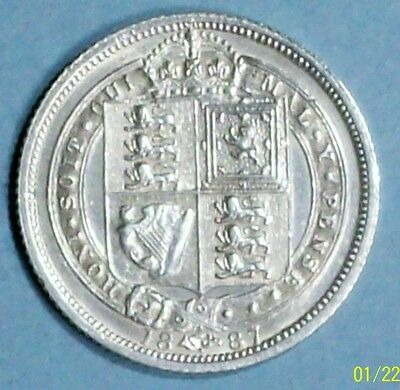 Great Britain 6 Pence 1887 About  Uncirculated 0.9250 Silver Coin