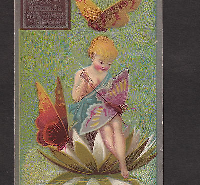 Victorian Fairy Nymph Mends Butterfly Wing Sewing Needle Advertising Trade Card
