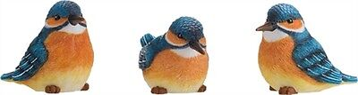 Set of 3 Large Resin Kingfisher Bird Figurines--#P8810