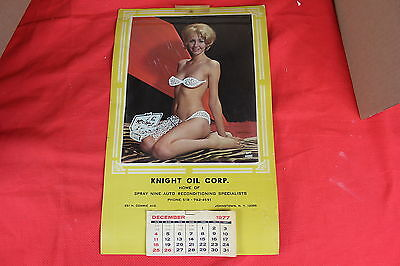 Vintage 1977 Pin Up Overlay Girl Calendar ( KNIGHT OIL CORP ) Johnstown N.Y.