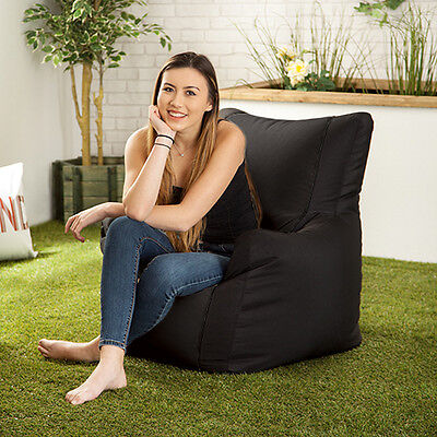 Black Layla Gaming Bean Bag Gamer Arm Chair Seat Indoor / Outdoor Garden Lounger