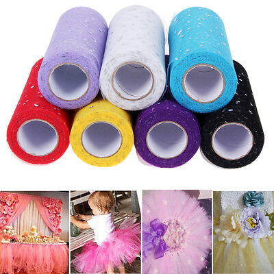 25 Yards 6'' Glitter Sequin Tulle Roll Spool Tutu Dress Wrap Wedding Party Decor
