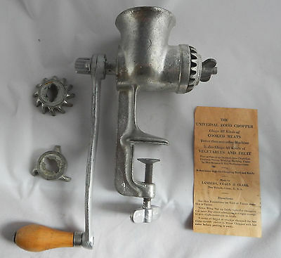 Universal Meat Grinder #1 Vintage Complete with 3 blades, Great Cond Table Mount