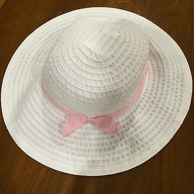 Girls' Gymboree White Hat with Pink Bow Size 5-7