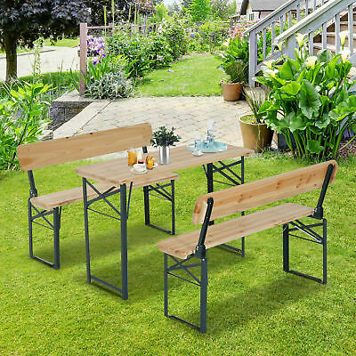 "Outsunny 46"" Folding Heavy Duty 3pc Wooden Picnic Table Bench Set Portable"