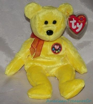"NEW 2000 TY Beanie Babies Plush Yellow 9"" TRADEE The 1st Ty Store INTERNET BEAR"