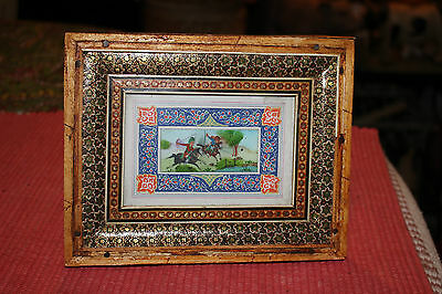 Miniature Persian Middle Eastern Arabic Painting-Men Riding Horses-Ornate Frame