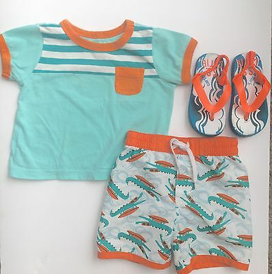 Old Navy Swim Trunks And Shirt Set Baby Boys Size 6-12 Months