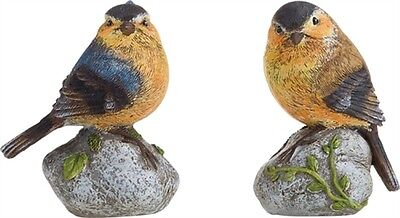 Set of 2 Resin Bird on a Rock Figurines--#P8813
