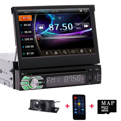 "7""Single 1DIN Car CD DVD Player GPS Navigation BT HD Touch Stereo Radio ipod+CAM"
