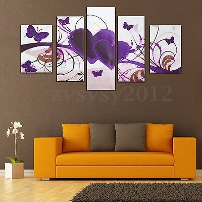 Purple Love Heart Canvas Painting Print Art Oil Picture Home Wall Decor Unframed