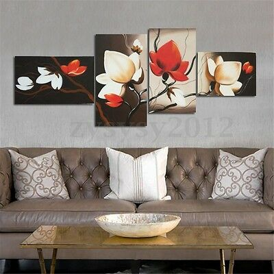 4Pcs Abstract Flower Canvas Painting Print Wall Art Picture Home Decor Unframed