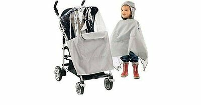 Chicco Mantellina Poncho Silver Raincover for Stroller or Child Birth to 2 years