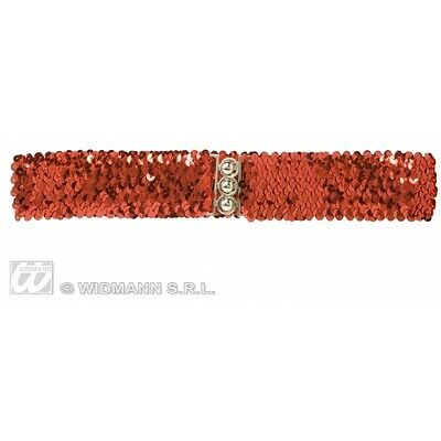 RED 70s SEQUIN BELT Accessory for 70s Disco Hippie Fancy Dress