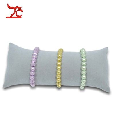 Retail Bracelet Bangle Watch Pillow ChainHolder Jewelry Display Grey Velvet Case