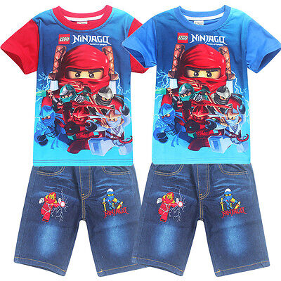 Kids Boys Casual T shirts Cartoon Tops Pants Clothes Summer Wear 3-8Years