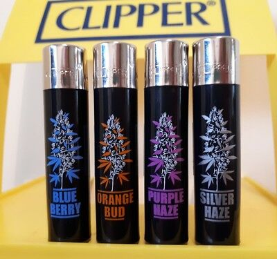 Clipper Lighters. x4 Rare Cool Amsterdam Weed Buds Black Top Gift Purple Haze