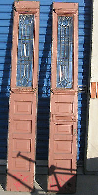 Pair Antique Sidelight Vintage Old Window Entrance Door