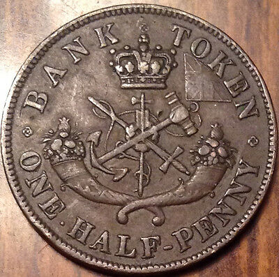 1850 Upper Canada Half Penny Token Dragonslayer In Good Condition