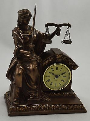 Superb Large Bronze Figure/Statue 'Lady Justice' Desktop Clock - Balance & Sword