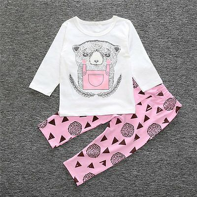 Toddler Kids Baby Girls Casual Outfits Clothes T-shirt Tops+Long Pants 2PCS Sets