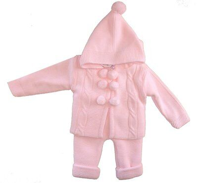 Baby Girl 2 Piece Chunky Knitted Outfit Pink Set Spanish Romany Style by Zip Zap